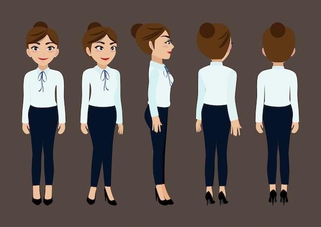 Personagem de desenho animado com mulher de negócios para animação.