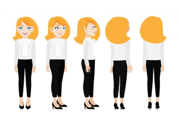 Personagem de desenho animado com mulher de negócios.