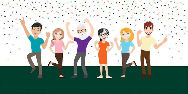 Personagem de desenho animado com pessoas felizes comemorar um importante evento ou festa. emoções alegres.