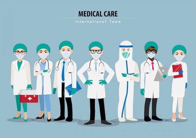 Personagem de desenho animado com profissionais médicos e enfermeiros, vestindo suíte protetora e juntos para combater o coronavírus