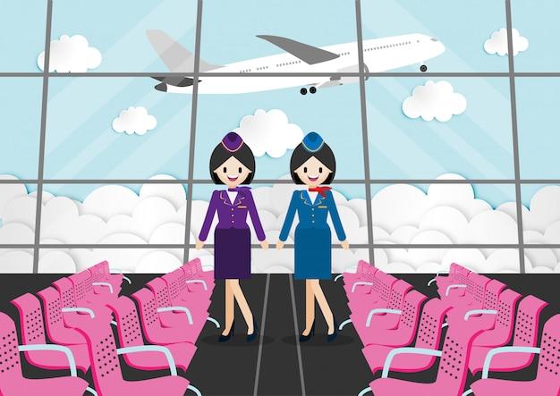 Personagem de desenho animado com sala de passageiros no terminal do aeroporto e aeromoça bonita