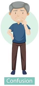 Personagem de desenho animado com sintomas de confusão