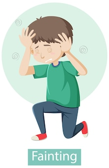 Personagem de desenho animado com sintomas de desmaio