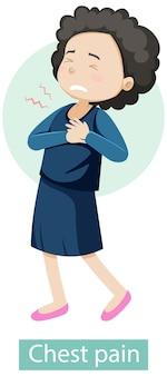 Personagem de desenho animado com sintomas de dor no peito