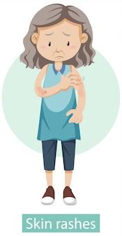 Personagem de desenho animado com sintomas de erupções cutâneas