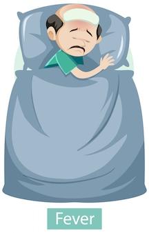 Personagem de desenho animado com sintomas de febre