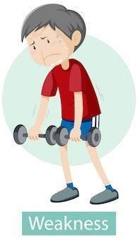 Personagem de desenho animado com sintomas de fraqueza
