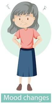 Personagem de desenho animado com sintomas de mudança de humor