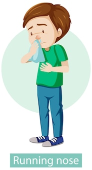 Personagem de desenho animado com sintomas de nariz escorrendo