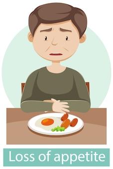 Personagem de desenho animado com sintomas de perda de apetite