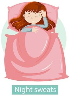 Personagem de desenho animado com sintomas de suores noturnos