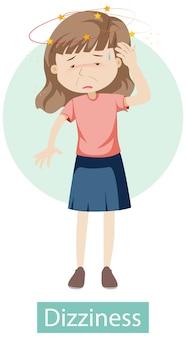 Personagem de desenho animado com sintomas de tontura