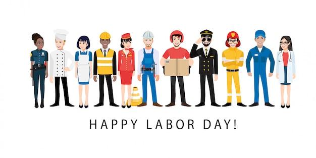 Personagem de desenho animado com trabalhador profissional no festival feliz dia do trabalho
