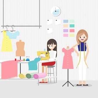 Personagem de desenho animado com trabalho de designer de moda