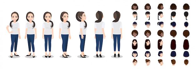 Personagem de desenho animado com uma mulher de camiseta branca casual para animação
