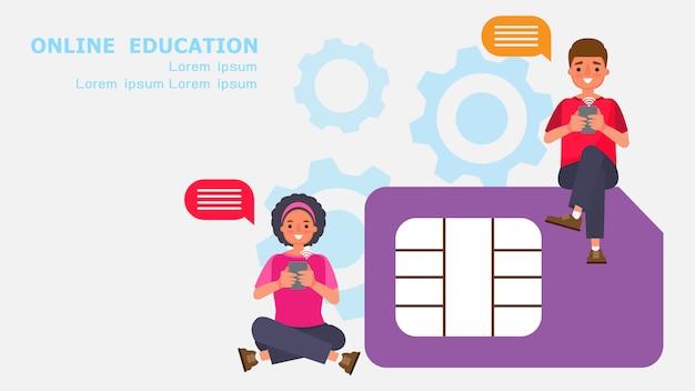 Personagem de desenho animado conceitos de comunicação de educação de menino e menina. ilustração de tecnologia de informação de aprendizagem de distância educação on-line aprenda em casa com a situação epidêmica conteúdo.