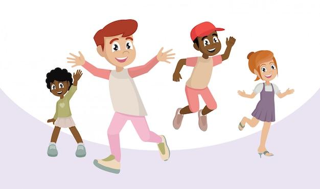 Personagem de desenho animado, conjunto de crianças felizes