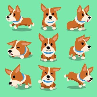 Personagem de desenho animado corgi cão poses