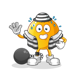 Personagem de desenho animado criminoso emoticon