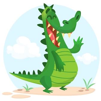 Personagem de desenho animado crocodilo