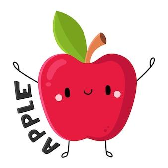 Personagem de desenho animado da apple com frutas e vegetais fofos