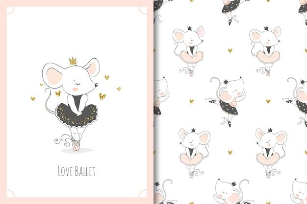 Personagem de desenho animado da bailarina do rato bonito dos desenhos animados. cartão de ratos e conjunto padrão sem emenda.