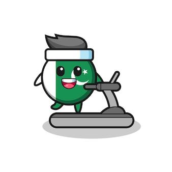 Personagem de desenho animado da bandeira do paquistão andando na esteira, design bonito
