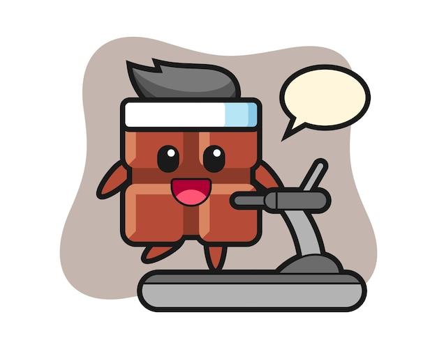 Personagem de desenho animado da barra de chocolate andando na esteira, estilo kawaii bonito.