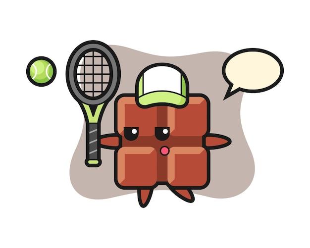 Personagem de desenho animado da barra de chocolate como jogador de tênis, estilo kawaii fofo.