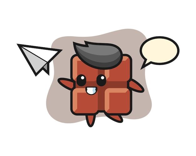 Personagem de desenho animado da barra de chocolate jogando avião de papel, estilo kawaii bonito.
