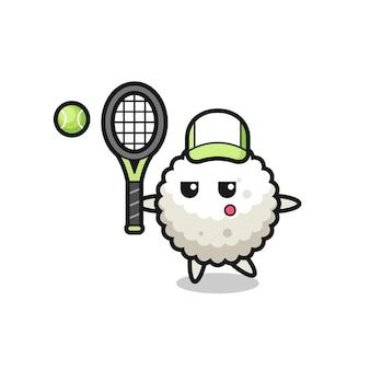 Personagem de desenho animado da bola de arroz como um jogador de tênis, design de estilo fofo para camiseta, adesivo, elemento de logotipo