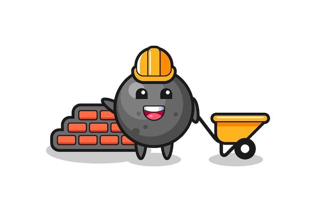 Personagem de desenho animado da bola de canhão como construtor, design de estilo fofo para camiseta, adesivo, elemento de logotipo