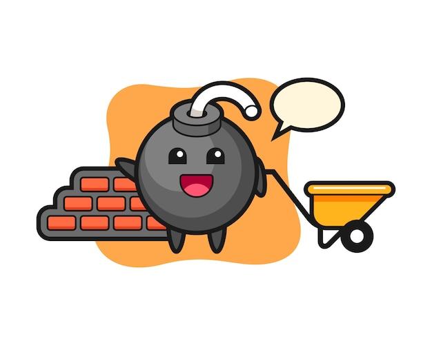Personagem de desenho animado da bomba como construtor