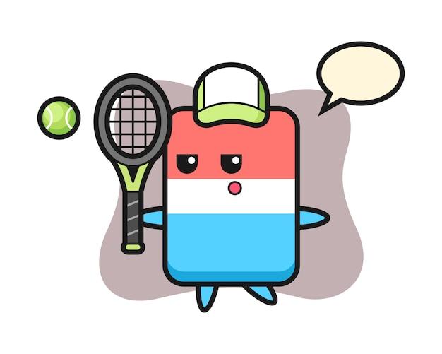 Personagem de desenho animado da borracha como jogador de tênis, estilo fofo, adesivo, elemento de logotipo