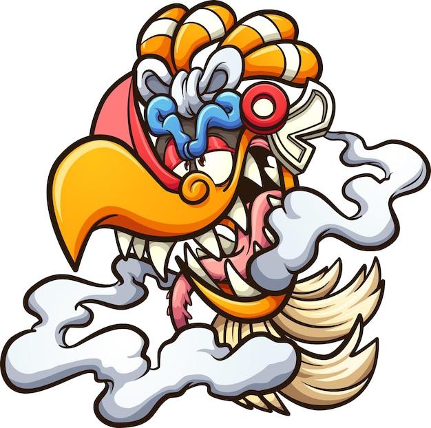 Personagem de desenho animado da cabeça do deus asteca ehecatl.