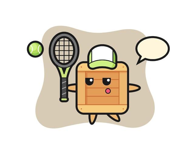 Personagem de desenho animado da caixa de madeira como um jogador de tênis, design de estilo fofo para camiseta, adesivo, elemento de logotipo