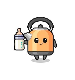 Personagem de desenho animado da chaleira de bebê com garrafa de leite, design de estilo fofo para camiseta, adesivo, elemento de logotipo