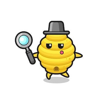 Personagem de desenho animado da colmeia de abelhas pesquisando com uma lupa, design fofo