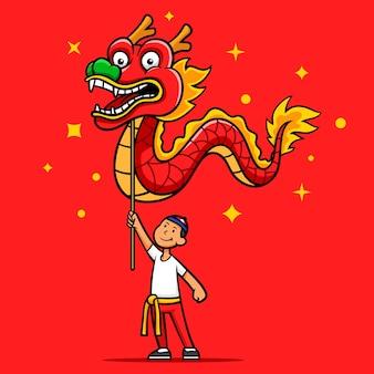 Personagem de desenho animado da dança do dragão