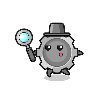 Personagem de desenho animado da engrenagem pesquisando com uma lupa, design de estilo fofo para camiseta, adesivo, elemento de logotipo