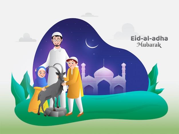 Personagem de desenho animado da família feliz na frente da mesquita com cabra na celebração de eid-al-adha mubarak