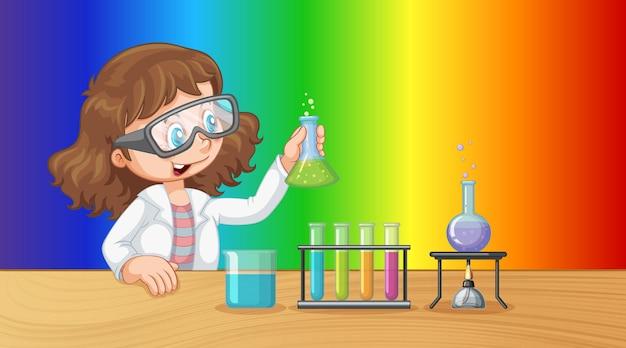 Personagem de desenho animado da garota cientista em fundo gradiente de arco-íris
