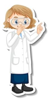 Personagem de desenho animado da garota cientista em pose ereta