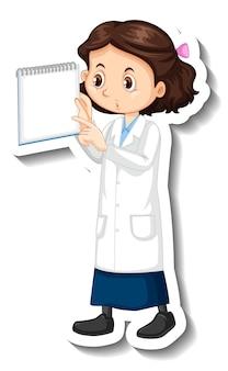 Personagem de desenho animado da garota cientista segurando uma nota em branco