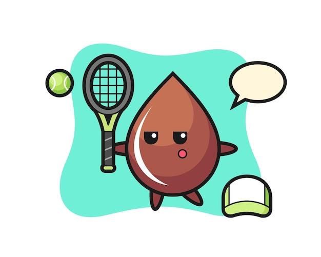 Personagem de desenho animado da gota de chocolate como jogador de tênis, design de estilo fofo para camiseta, adesivo, elemento de logotipo