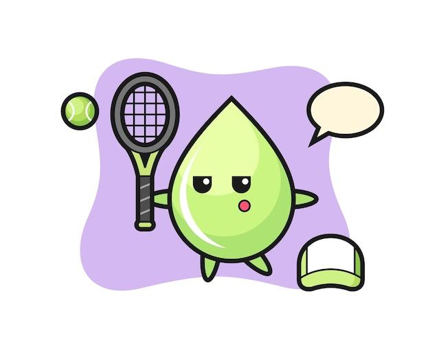 Personagem de desenho animado da gota de suco de melão como jogador de tênis, design de estilo fofo para camiseta, adesivo, elemento de logotipo