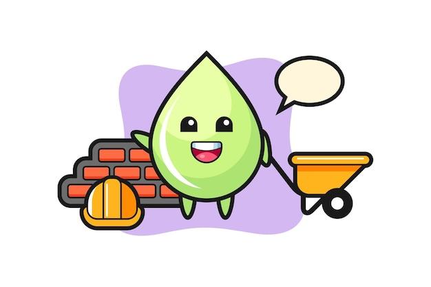 Personagem de desenho animado da gota de suco de melão como um construtor, design de estilo fofo para camiseta, adesivo, elemento de logotipo