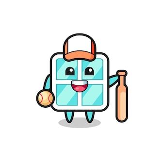 Personagem de desenho animado da janela como um jogador de beisebol, design de estilo fofo para camiseta, adesivo, elemento de logotipo