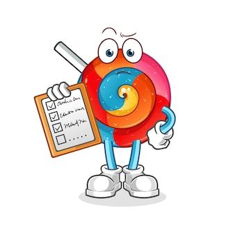 Personagem de desenho animado da lista de programação do lollipop