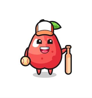 Personagem de desenho animado da maçã da água como um jogador de beisebol, design de estilo fofo para camiseta, adesivo, elemento de logotipo